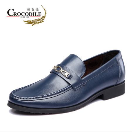 鳄鱼恤2015春季新品商务正装皮鞋真皮头层皮英伦男鞋一脚蹬套脚