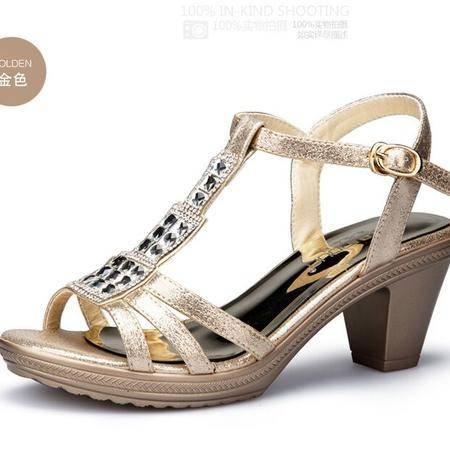 莱卡金顿鱼嘴凉鞋女 2015夏季新款欧美时尚镶钻粗跟高跟女凉鞋