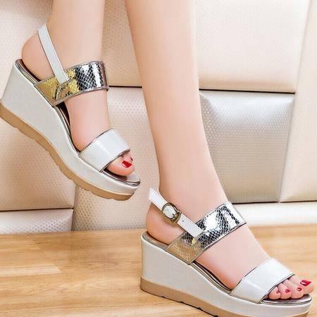 莱卡金顿一字凉鞋女 2015夏季新款欧美时尚厚底女凉鞋松糕女鞋