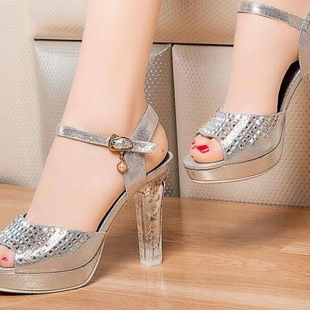 莱卡金顿鱼嘴凉鞋女 2015夏季新款欧美时尚镶钻高跟防水台女凉鞋