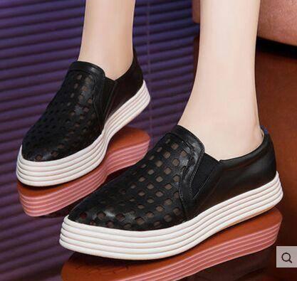 莱卡金顿松糕鞋女鞋 2015夏季新款乐福鞋洞洞透气时尚运动懒人鞋