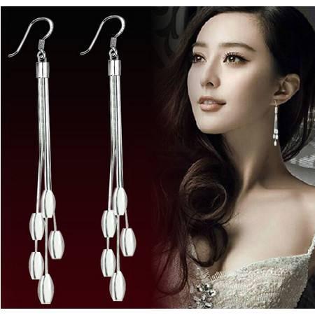 新品长款韩国时尚流苏耳饰925纯银耳环耳坠女款品耳夹耳挂