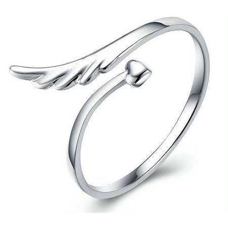 韩版天使的翅膀指环925纯银可爱开口戒指女款生日礼物银饰