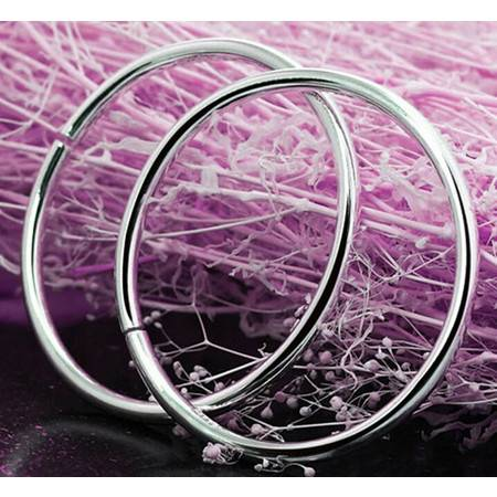 韩国版男女款925纯银镯子光面手镯时尚饰品实心高亮光身手环