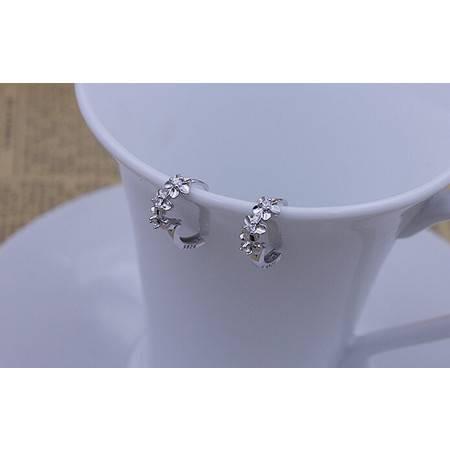 饰品925纯银山茶花耳扣女时尚梅花耳环耳钉