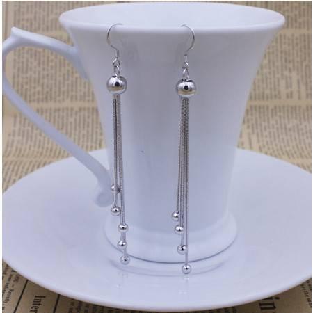 韩版复古长款925银纯圆珠耳坠耳环时尚流苏耳坠女款耳饰品
