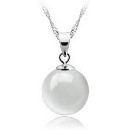 韩国版时尚925纯银天然水滴白猫眼石吊坠项链项饰女式