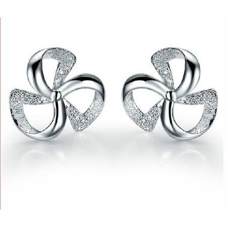 韩国版幸运三叶草925纯银耳钉女式耳环时尚饰品