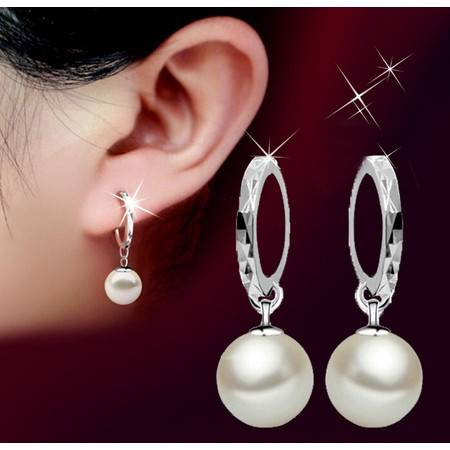 S925纯银耳扣耳坠女玻璃贝珍珠车花耳环耳圈