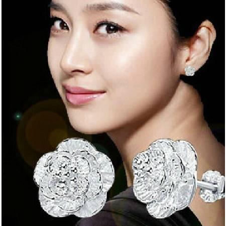 韩版925纯银耳钉女式浪漫优雅樱花之恋耳钉耳饰品