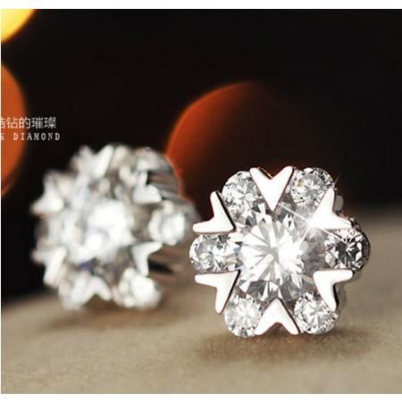 韩国韩版正品雪花耳环925纯银耳钉女耳钉气质女雪舞耳钉
