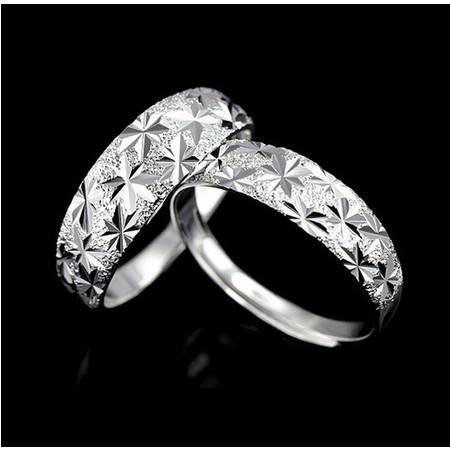纯银戒指情侣对戒925纯银手饰满天星银戒指开口