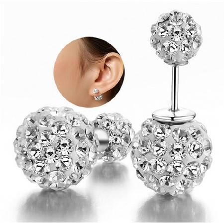 香巴拉水钻双珠耳钉925纯银耳钉星空物语耳饰品