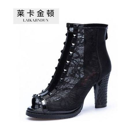莱卡金顿春季新款网纱鱼嘴鞋高跟单鞋性感蕾丝凉鞋女粗跟镂空女鞋