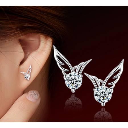韩国天使之翼耳饰品时尚翅膀耳钉s925纯银耳钉