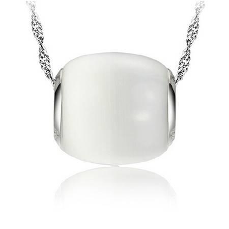 韩版韩国925纯银猫眼石路路通转运珠项链吊坠