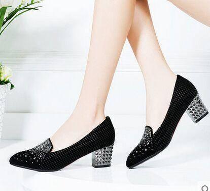 莱卡金顿单鞋女鞋 2015春季新款欧美时尚镶钻女士单鞋粗跟低帮鞋