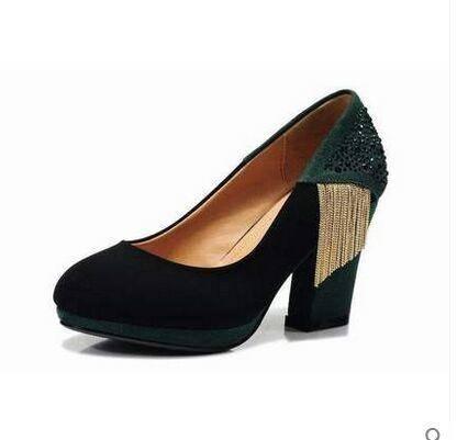 莱卡金顿春季新款流苏高跟单鞋 粗跟女鞋浅口橡胶磨砂女鞋休闲