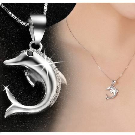2015新品热卖S925纯银海豚之恋项链吊坠女式韩版项饰品