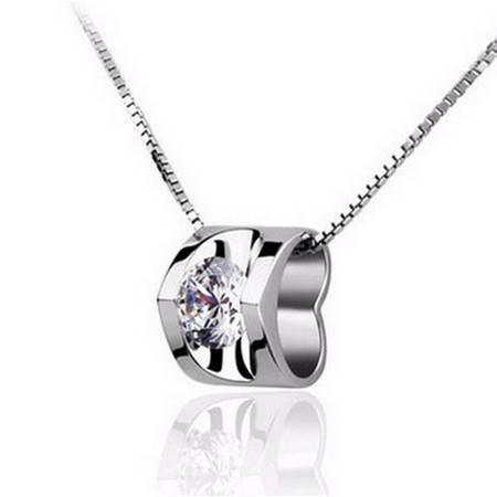 925纯银项链韩国欧美瑞士钻真爱心形吊坠女短款锁骨链银饰品