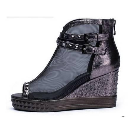 莱卡金顿2015夏季新款女单鞋 欧美坡跟高跟鱼嘴网纱鞋 厚底凉鞋女