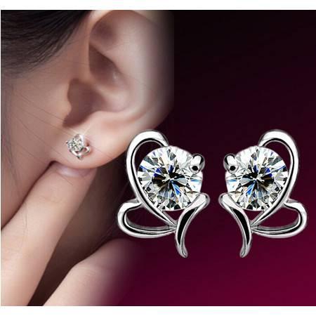 925纯银韩国欧美蝴蝶结心形水语耳钉女士高档耳饰品