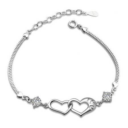 欧美银饰品925纯银女款幸福信号双心手链