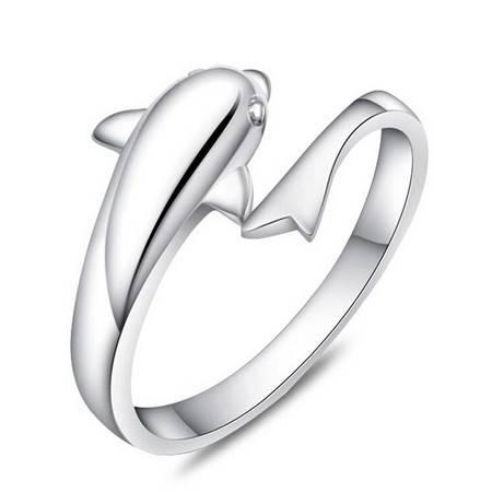 925纯银戒指浪漫海豚恋人开口戒指 时尚指环
