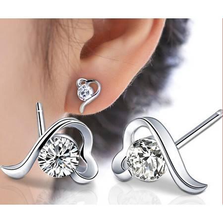 经典复古时尚耳钉925纯银耳钉一见倾心耳饰品