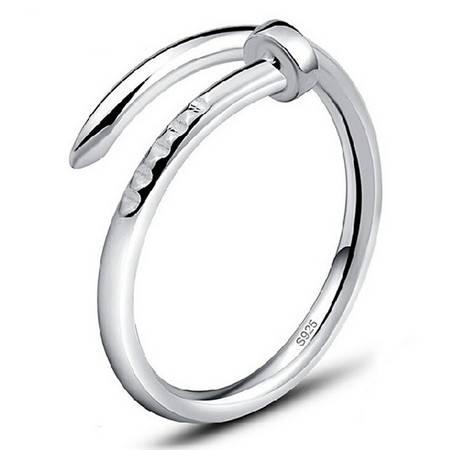 韩版来自星星的你同款指环螺丝戒指女钉子戒指925纯银饰品