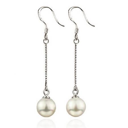 925纯银长款耳坠女式高级仿珍珠贝珠耳环耳钩