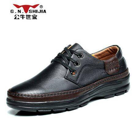 公牛世家新款男士商务休闲鞋皮鞋英伦潮流真皮系带男鞋子低帮单鞋