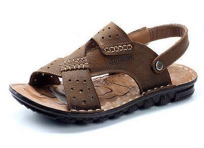 木林森凉鞋夏季新款正品男凉拖鞋沙滩鞋男士休闲牛皮凉鞋