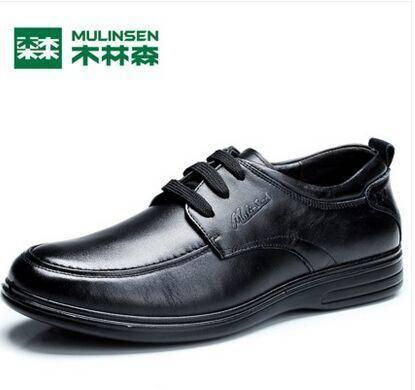 木林森2015春季男士商务休闲皮鞋男鞋真皮牛皮英伦单鞋系带鞋子男