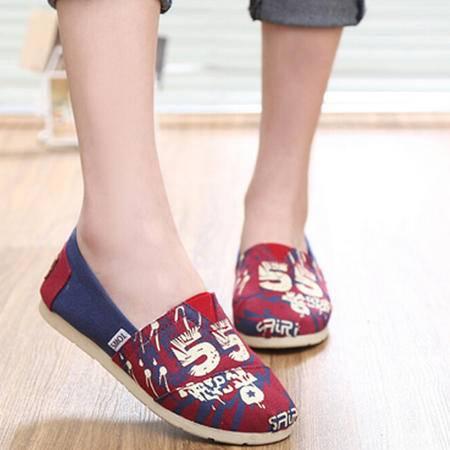 夏季韩版一脚蹬平底休闲女板鞋透气女士帆布鞋 迷彩女单鞋子