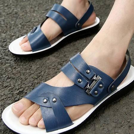 2015夏季新款男凉鞋韩版男沙滩鞋时尚超纤皮凉拖休闲男鞋子