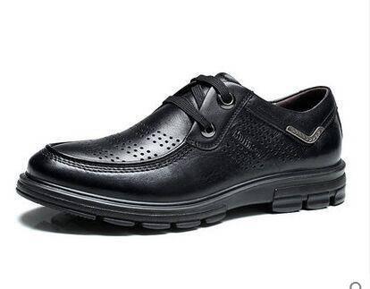 木林森男鞋2015夏季正品真皮冲孔透气皮鞋男士商务休闲皮鞋
