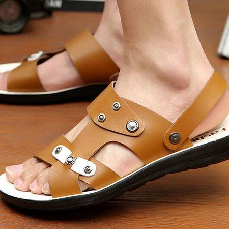 2015夏季透气男沙滩鞋韩版潮流超纤皮凉鞋休闲男士凉拖鞋子