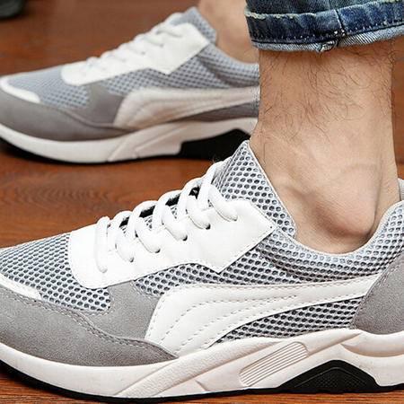 夏季新款休闲网布鞋男运动鞋 透气学生跑步网纱男鞋内增高低帮鞋