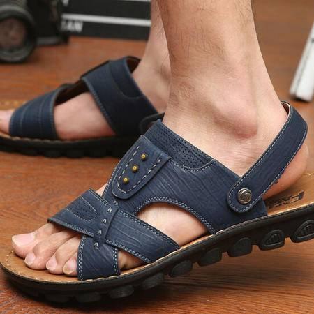 2015夏季男士沙滩鞋凉鞋韩版潮男休闲皮凉拖新款透气男鞋子