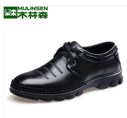 木林森男鞋商务休闲皮鞋圆头真皮耐磨皮鞋男英伦正品牛皮男士皮鞋
