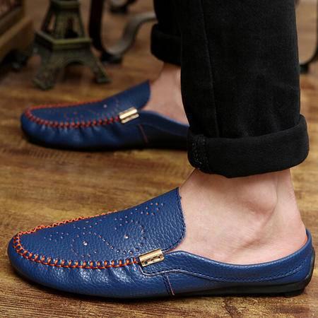 夏季新款豆豆鞋半拖鞋英伦镂空休闲男士凉鞋透气懒人男鞋子潮鞋