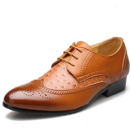 新款时尚男鞋潮男皮鞋子尖头男士雕花品牌男鞋潮系带男士休闲鞋
