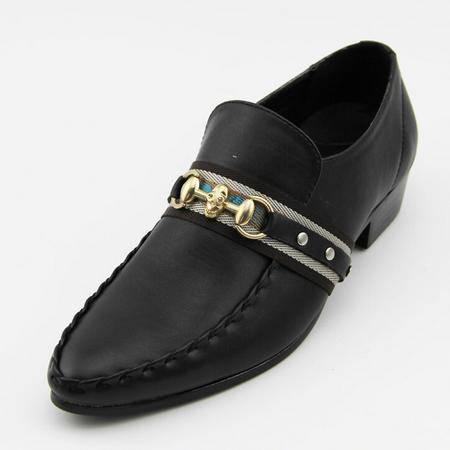 男鞋真皮休闲高端男鞋潮尖头品牌男鞋布洛克皮鞋低帮