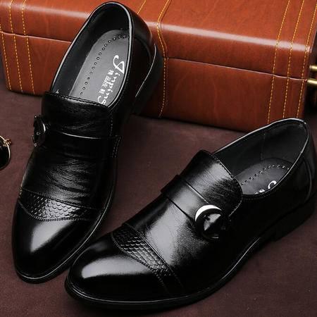 新款休闲男鞋夏男士商务皮鞋子坡跟潮流男鞋潮流单鞋子