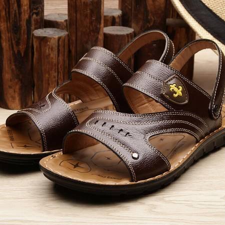 2015夏季正品男士休闲真皮凉鞋男沙滩鞋凉拖鞋透气男鞋