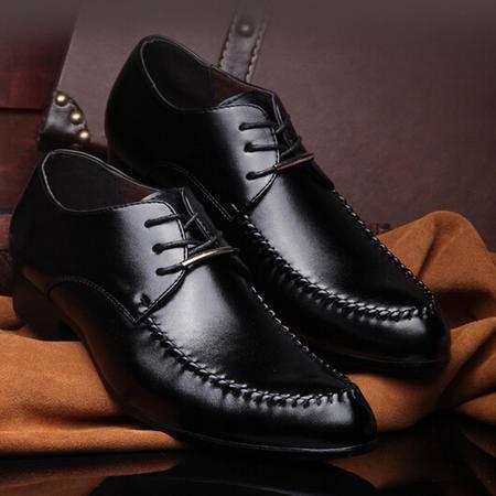 新款男鞋潮鞋子尖头鞋子休闲皮鞋系带品牌男鞋