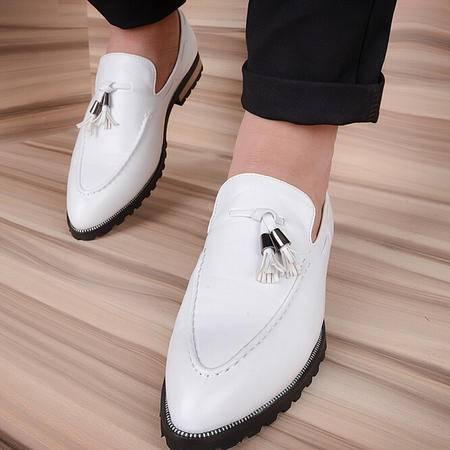 2015夏季韩版白色男士休闲皮鞋子真皮男单鞋