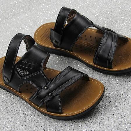 夏季新款潮流休闲男士沙滩鞋真牛大皮品牌男凉鞋凉拖鞋子