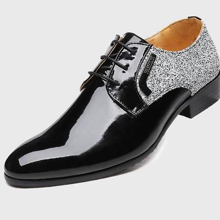 2015新款发光尖头品牌男鞋潮男式休闲系带男鞋子